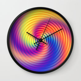 Abstract Rainbow Swirl Wall Clock