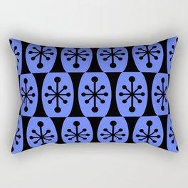 Mid Century Modern Atomic Fusion Pattern 335 Black and Blue Rectangular Pillow