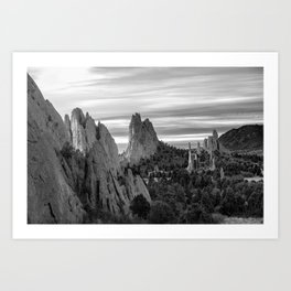 Garden of the Gods - Colorado Springs Landscape in Black and White Art Print