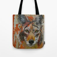 coyote Tote Bags featuring Coyote by Ali Kirby