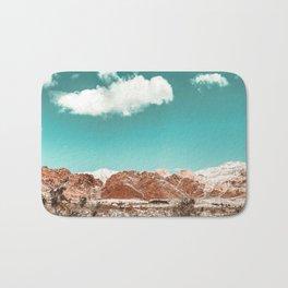 Vintage Red Rocks // Snow in the Mojave Desert Clouds Teal Sky Mountain Range Landscape Bath Mat