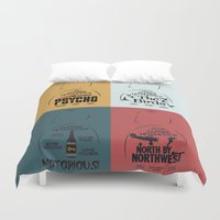 posters Duvet Covers featuring Four Hitchcock Movie Posters in One (Psycho, The Birds, North by Northwest, Notorious) by Stefanoreves