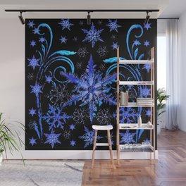 DECORATIVE BLACK & BLUE WINTER SNOWFLAKE FANTASY ART Wall Mural