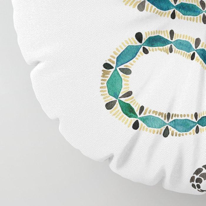 Emerald & Gold Serpent Floor Pillow