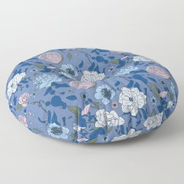 Lovely Seamless Floral Pattern With Subtle Poodles (Hand Drawn) Floor Pillow