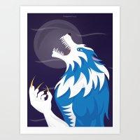 werewolf Art Prints featuring Werewolf by Designsbyemjay