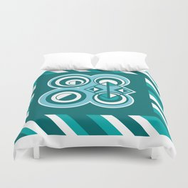 Striped Blue White and Teal Falling Eccentric Circles Abstract Art Duvet Cover