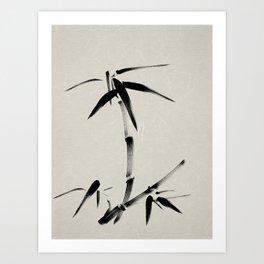 Bamboo Brush Ink Painting - Japanese Zen Art Art Print