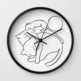 Cats line art 1 Wall Clock