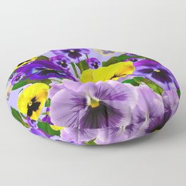 SPRING PURPLE & YELLOW PANSY FLOWERS Floor Pillow