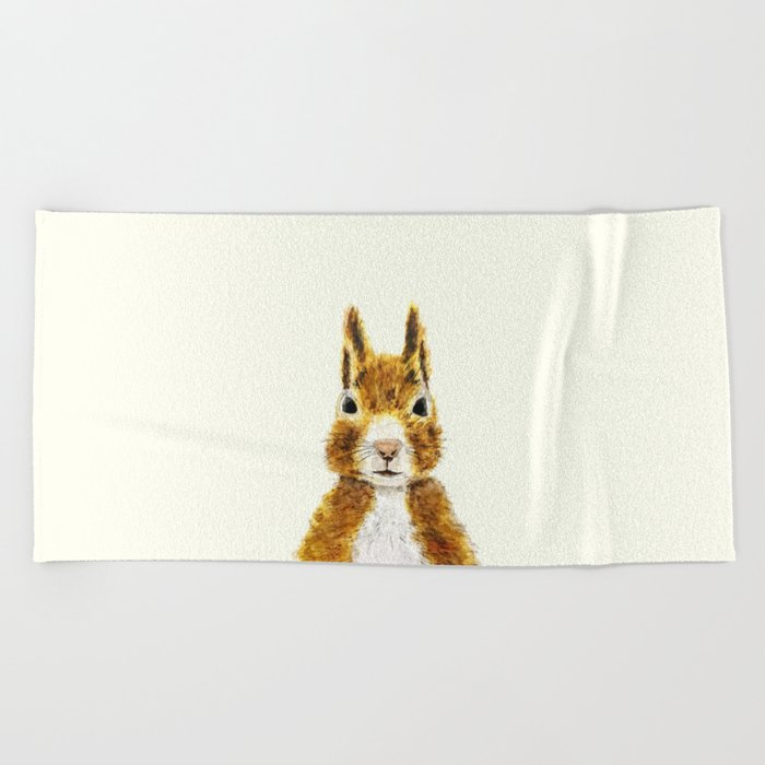 cute little squirrel watercolor Beach Towel
