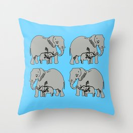 Elephants Pattern in Blue Throw Pillow