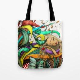 Blond Girl Sleeping Illustration Tote Bag