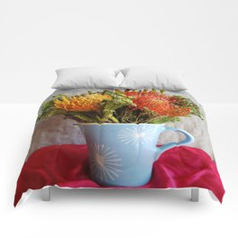 Flowers in a vase - with Pincushion Protea Comforters