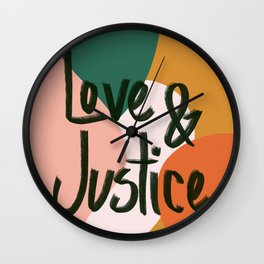 Love and Justice in Sunrise Wall Clock