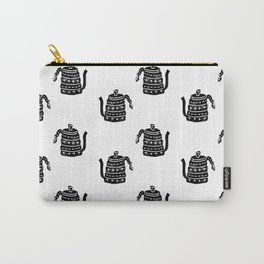 Kettle linocut black and white kitchen appliance coffee and tea water ketle Carry-All Pouch