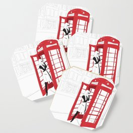 London Calling Fashion Phone Booth Girl Coaster