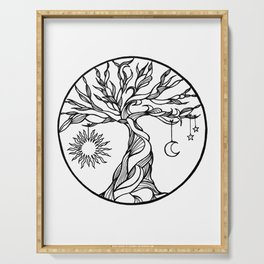 black and white tree of life with hanging sun, moon and stars I Serving Tray