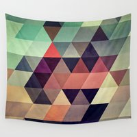 bianca green Wall Tapestries featuring tryypyzoyd by Spires