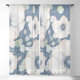 Summer Flowers Blue #society6 #buyart Sheer Curtain