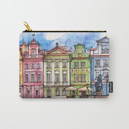 Poznan houses ink & watercolor illustration Carry-All Pouch