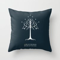 the lord of the rings Throw Pillows featuring Lord Of The Rings ROTK by Jamesy
