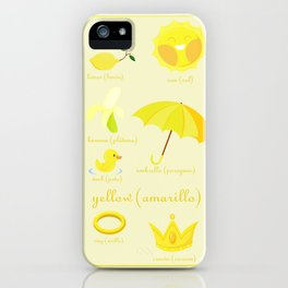 Colors: yellow (Los colores: amarillo) iPhone Case