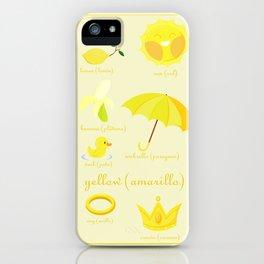Colors: yellow (Los colores: amarillo) iPhone Case