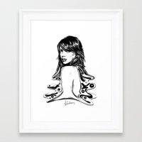 emma stone Framed Art Prints featuring Emma Stone Semi Abstract by jaytenart