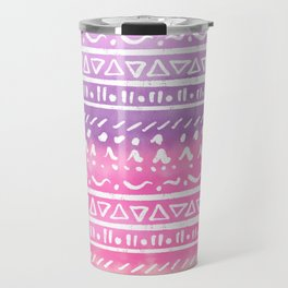 Geometric hand drawn abstract white aztec modern summer pink purple coral ombre watercolor pattern Travel Mug