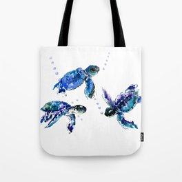 Three Sea Turtles, Marine Blue Aquatic design Tote Bag