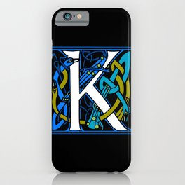 Celtic Peacock Letter K iPhone Case