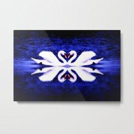Swans in Love (dark blue-vibrant) Metal Print