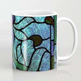 Aqua Green and Blue Art Nouveau Stained Glass Design Coffee Mug