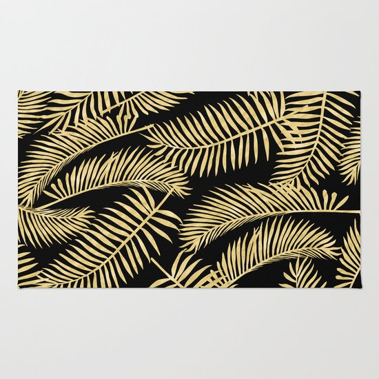 Palm Leaf Pattern Gold And Black Rug By Lavieclaire Society6
