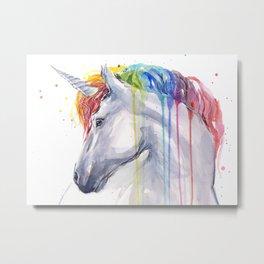 Rainbow Unicorn Watercolor Metal Print