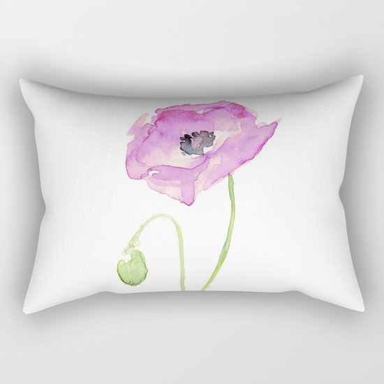 Flower Purple Poppy Floral Watercolor Rectangular Pillow