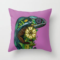 chameleon orchid Throw Pillow