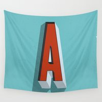 letter Wall Tapestries featuring Letter A by INDUR
