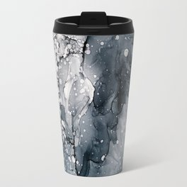 Icy Payne's Grey Abstract Bubble / Snow Painting Travel Mug