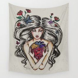 be still my beating heart anitomical love valentine tattoo brunette Wall Tapestry