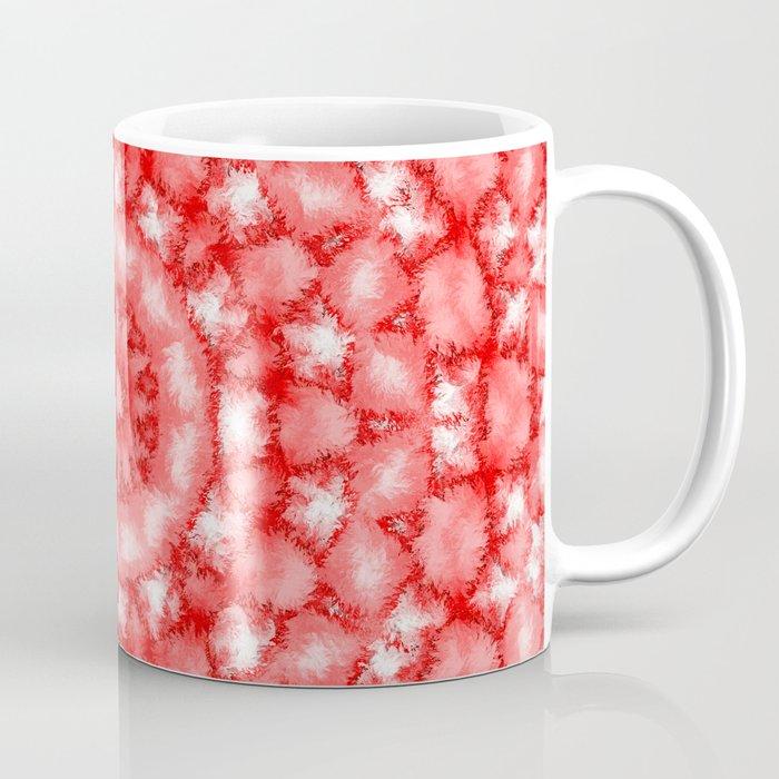 Kaleidoscope Fuzzy Red and White Circular Pattern Coffee Mug