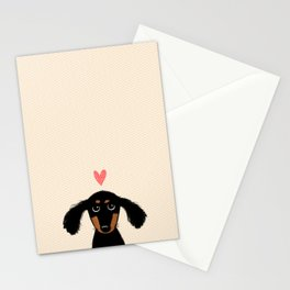 Dachshund Love | Cute Longhaired Black and Tan Wiener Dog Stationery Cards