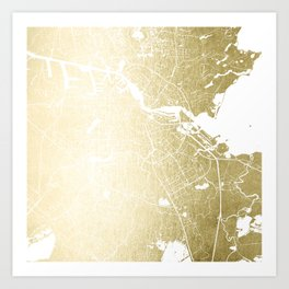 Amsterdam Gold on White Street Map Art Print