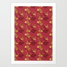 Boho Camellias. Art Print