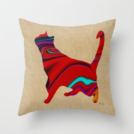 Red Standing Cat Throw Pillow