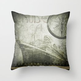 Steam Ship Ahoy Throw Pillow