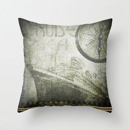 Steam Ship Ahoy Throw Pillow