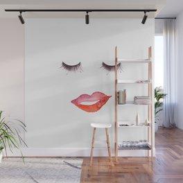 Lips and Eyelashes Wall Mural