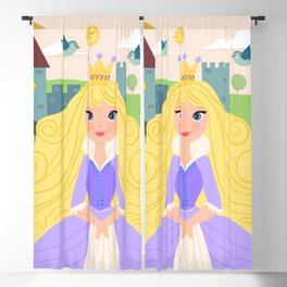 Fairy Tale Princess With Her Story Book Castle - Purple Dress Blackout Curtain